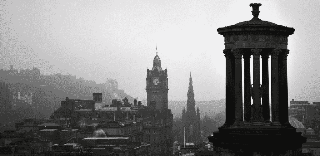 Road Trip UK Scotland Edinburgh View Over The City Black And White